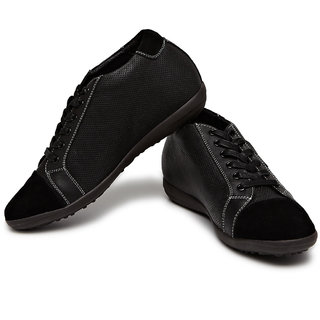 Height Increasing Perforated Suede Panel Shoes- 2.4 Inches (Design  2)