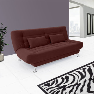 Fabhomedecor - Alifa Wooden Frame Sofa Cum Bed With Fabric Upolstry And Metal Legs - Dark Brown