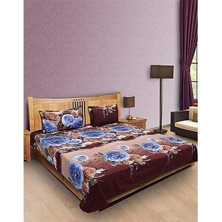 Eft Brown Poly Cotton Double Bedsheet With 2 Pillowe Covers