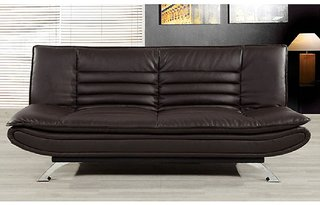 Fabhomedecor - Richmond Wooden Frame Sofa Cum Bed With Leathrite  Upolstry And Metal Legs - Dark Brown