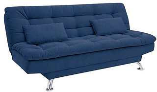 Fabhomedecor - Supersoft Wooden Frame Sofa Cum Bed With Fabric Upolstry And Metal Legs - Blue