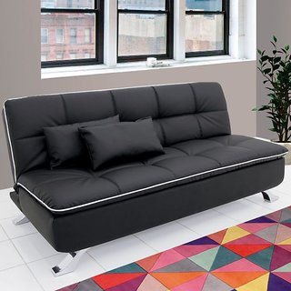 Fabhomedecor - Desso Wooden Frame Sofa Cum Bed With Leatherite Upolstry And Metal Legs - Black