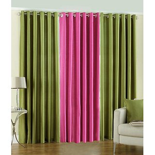 Iliv Plain Eyelet Curtain 9 Feet ( Set Of 3 ) Green  Pink