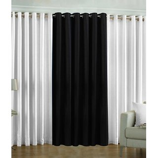Iliv Plain Eyelet Curtain 5 feet ( Set Of 3 ) White  Black