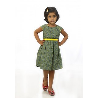 Grey and Yellow cotton casual frock