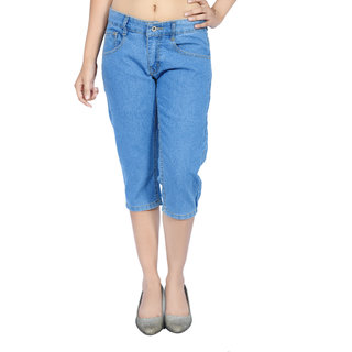 La Fem Womens Slim Fit Denim Capri Light Blue