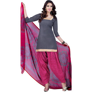 Jiya Presents Cotton Patiyala Dress Material(Grey,Pink) BTSWSPTH520026