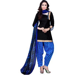 Jiya Presents Cotton Patiyala Dress Material(Black,Blue) BTSWSPTH520025