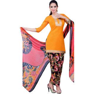 Jiya Presents Cotton Patiyala Dress Material(Dark Yellow,Multi) BTSWSPTH520017
