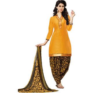 Jiya Presents Cotton Patiyala Dress Material(Dark Yellow,Coffee) BTHNYRB33013