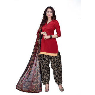 Jiya Presents Cotton Patiyala Dress Material(Red,Black,Cream) BTSWSPTH520016
