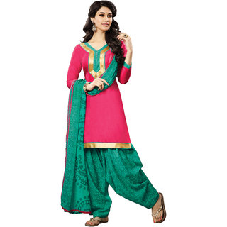 Jiya Presents Cotton Patiyala Dress Material(Pink,Rama Green) BTHNYRB33006