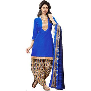 Jiya Presents Cotton Patiyala Dress Material(Blue,Multi) BTHNYRB33004