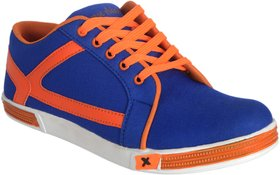 George Adam MenS Blue With Orange Lace Casual Shoes ( sk043 genx navy blue sneekers)