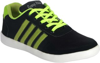 George Adam Mens Black & Green Lace-up Smart Casuals Shoes