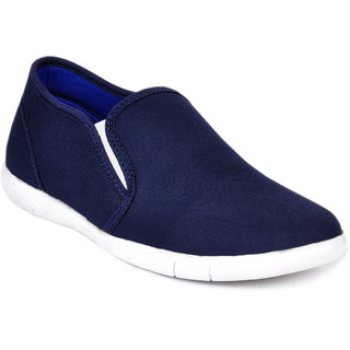 Footlodge Men's White & Blue Slip On Casual Shoes