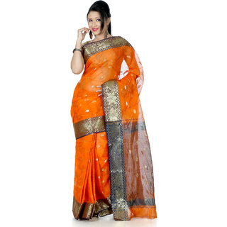 B3Fashion Traditional Ethnic Bengal Orange Handloom Tant/Tangail cotton Saree   AGS371