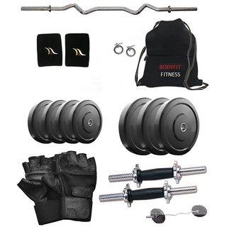 Body Fit 12 Kg Home Gym 3ft Curl Rod Dumbell Rods, Gym Bag, Gloves, Wrist Band