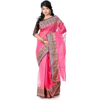 B3Fashion Handloom Traditional Pink  coloured Bengal Tant saree  AGS329