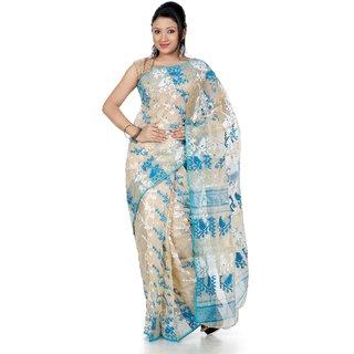 B3Fashion Handloom Traditional Golden Beige Jamdani Saree  AGS345