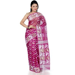 B3Fashion Magenta Pink traditional handloom Dhakai Jamdani silk saree  AGS346