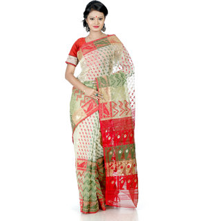 B3fashion Handloom beautiful designer Offwhite Dhakai Jamdani silk saree green AGS352