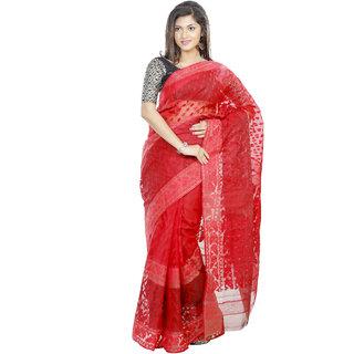 B3fashion Handloom beautiful designer Red Dhakai Jamdani  saree d in red . AGS359