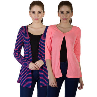 Rigo Multi 100 Cotton Full Sleeve Shrug Combo For Women