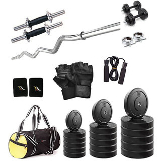 Total Gym 22 Kg Home Gym, 14 Inch D.rod, Curl Rod, Gym Bag, Glove, Rope And Band