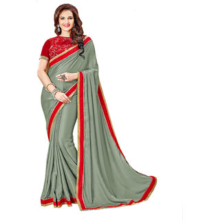 Aesha Grey Satin Embroidered Saree With Blouse