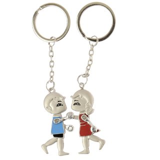 Anishop Moving hands Metal Couple Keychain -set of 2