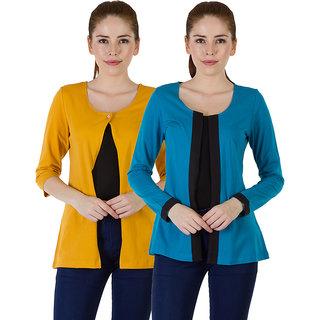 Rigo Multi 100 Cotton Full Sleeve Shrug Combo For Women