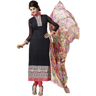 Prafful Black Georgette Embroidered Party wear Dress Materials GS83779