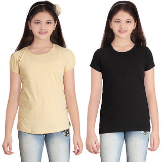 SINIMINI GIRLS SOLID ROUND NECK  TSHIRT (PACK OF 2)