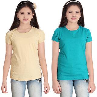 SINIMINI GIRLS SOLID ROUND NECK  TSHIRT (PACK OF 2)