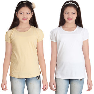 fdc515b1f Buy SINIMINI GIRLS SOLID ROUND NECK TSHIRT (PACK OF 2) Online - Get ...