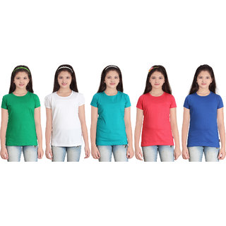 SINIMINI GIRLS SOLID ROUND NECK  TSHIRT (PACK OF 5)