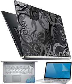 FineArts Floral Black White 4 in 1 Laptop Skin Pack with Screen Guard, Key Protector and Palmrest Skin