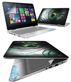 FineArts Black Feather 4 in 1 Laptop Skin Pack with Screen Guard, Key Protector and Palmrest Skin