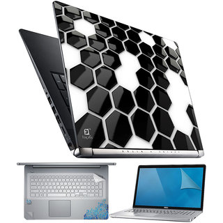 FineArts Hexagon BW 4 in 1 Laptop Skin Pack with Screen Guard, Key Protector and Palmrest Skin
