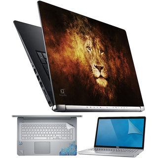 FineArts Lion Face Effect 4 in 1 Laptop Skin Pack with Screen Guard Key Protector and Palmrest Skin