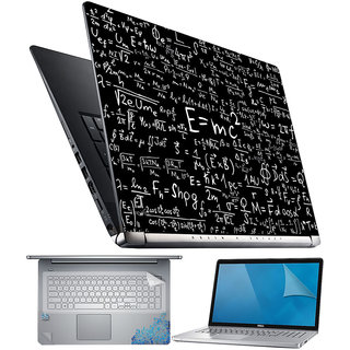 FineArts EMC2 Black 4 in 1 Laptop Skin Pack with Screen Guard, Key Protector and Palmrest Skin
