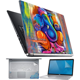 FineArts Lord Ganesha 4 in 1 Laptop Skin Pack with Screen Guard, Key Protector and Palmrest Skin