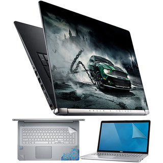 FineArts Car with Chain 4 in 1 Laptop Skin Pack with Screen Guard, Key Protector and Palmrest Skin