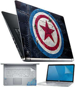 FineArts Captain America Logo 4 in 1 Laptop Skin Pack with Screen Guard, Key Protector and Palmrest Skin