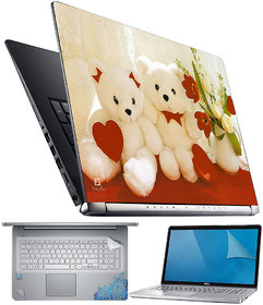 FineArts Teddy with Heart and Flower 4 in 1 Laptop Skin Pack with Screen Guard, Key Protector and Palmrest Skin