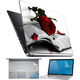 FineArts Rose Book 4 in 1 Laptop Skin Pack with Screen Guard, Key Protector and Palmrest Skin