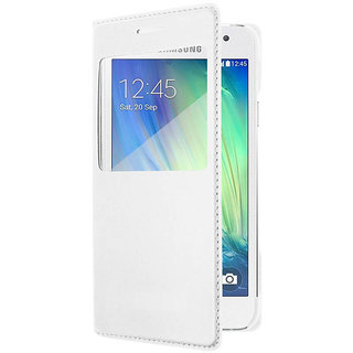 Snaptic White Leather S View Flip Cover for Samsung Galaxy On5