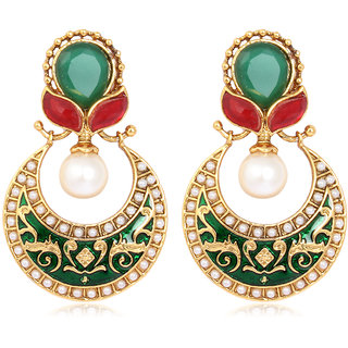 Adwitiya Collection Meenakari And Pearl Crafted Beautiful Traditional Earrings for Women