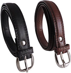 Elligator Stylish Black Brown Belt Combo For Women